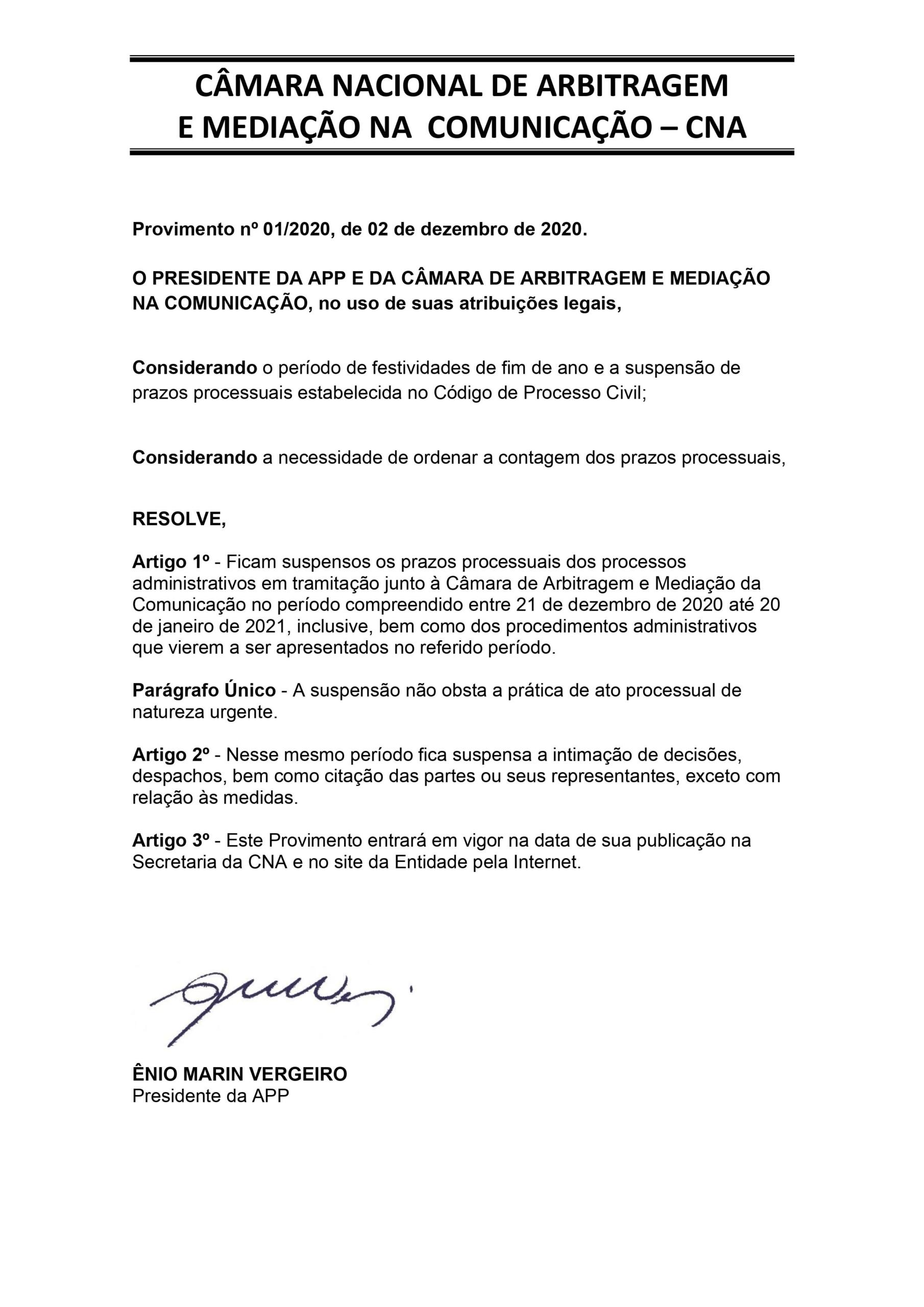 CÂMARA NACIONAL DE ARBITRAGEM E MEDIAÇÃO NA COMUNICAÇÃO – CNA